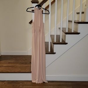 Pale Pink Halter Floor Length Dress
